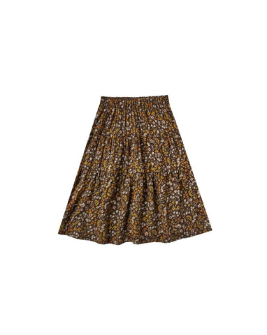 Girls Dark Floral Tiered Midi Skirt- Vintage Black