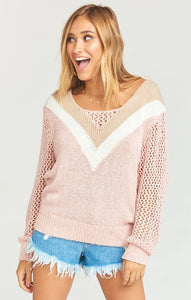 Daveny Sweater in Mauve Chevron Knit
