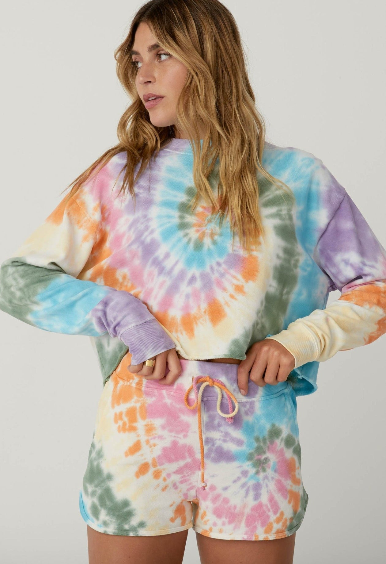 Tie Dye Crop Sweatshirt - Rainbow Spiral | Daydreamer - December 20 Capsule - Women's Clothing