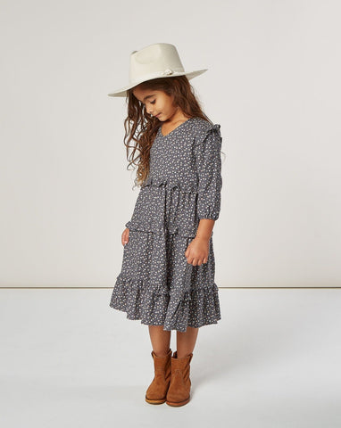Ditsy Mabel Dress - Washed Indigo