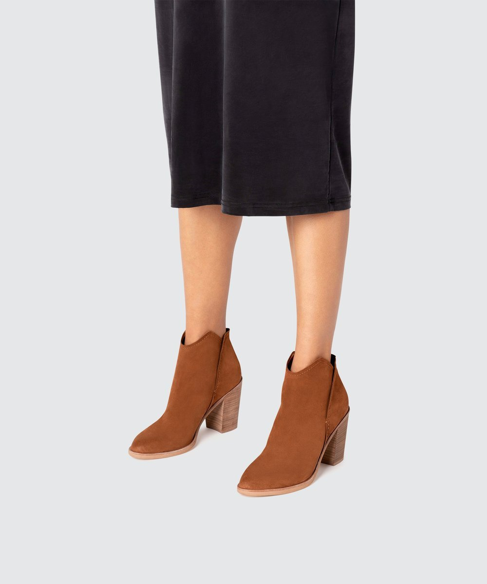 Dolce Vita Shep Booties - Brown Suede