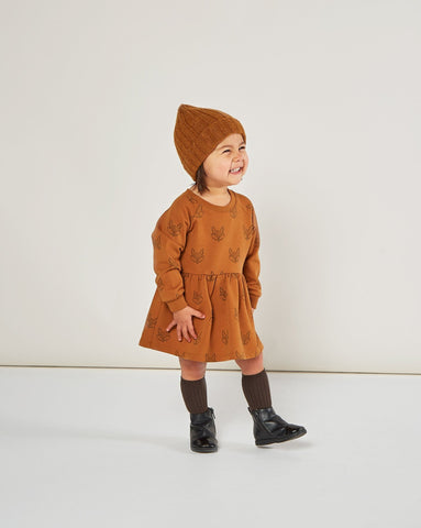 Fox Raglan Dress - Cinnamon