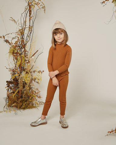 Girls Ribbed Longsleeve Tee - Cinnamon