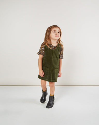 Girls Corduroy Jumper - Forest