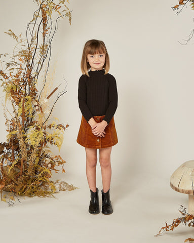 Girls Corduroy Mini Skirt - Cinnamon