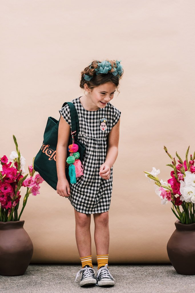 Dulcie Dress in Black Check from Wander and Wonder for Girls