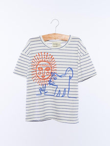 Sun and The Dog Tee in Blue Stripe from Wander & Wonder for Kids