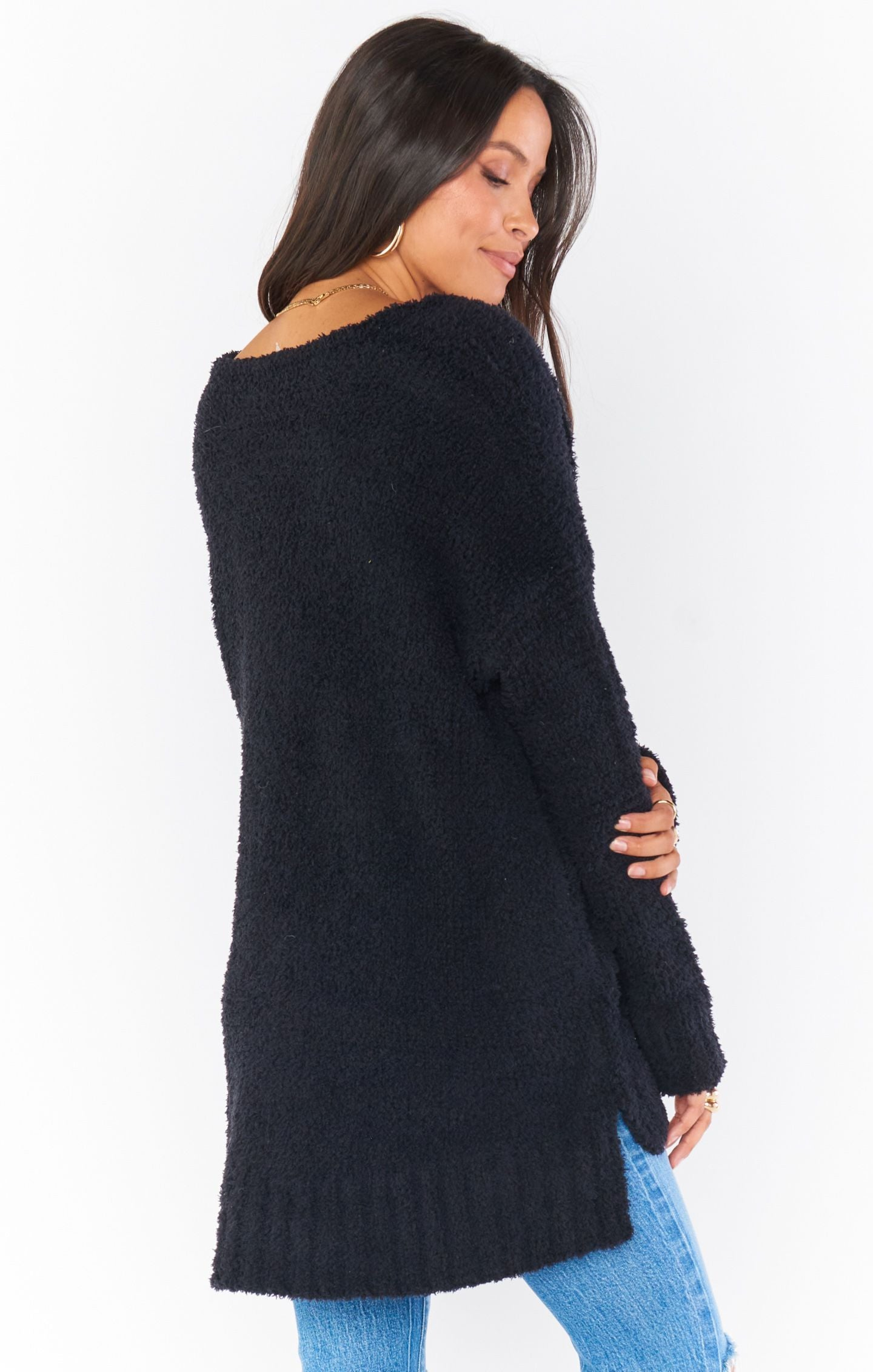 Load image into Gallery viewer, Hug Me Sweater - Black Fuzzy Knit