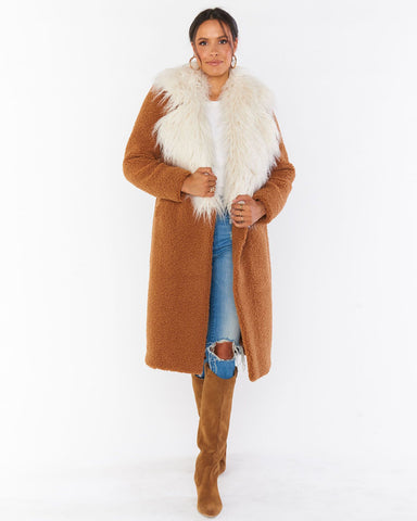 Stay Warm Jacket - Mocha Faux Sherpa w/ Faux Fur