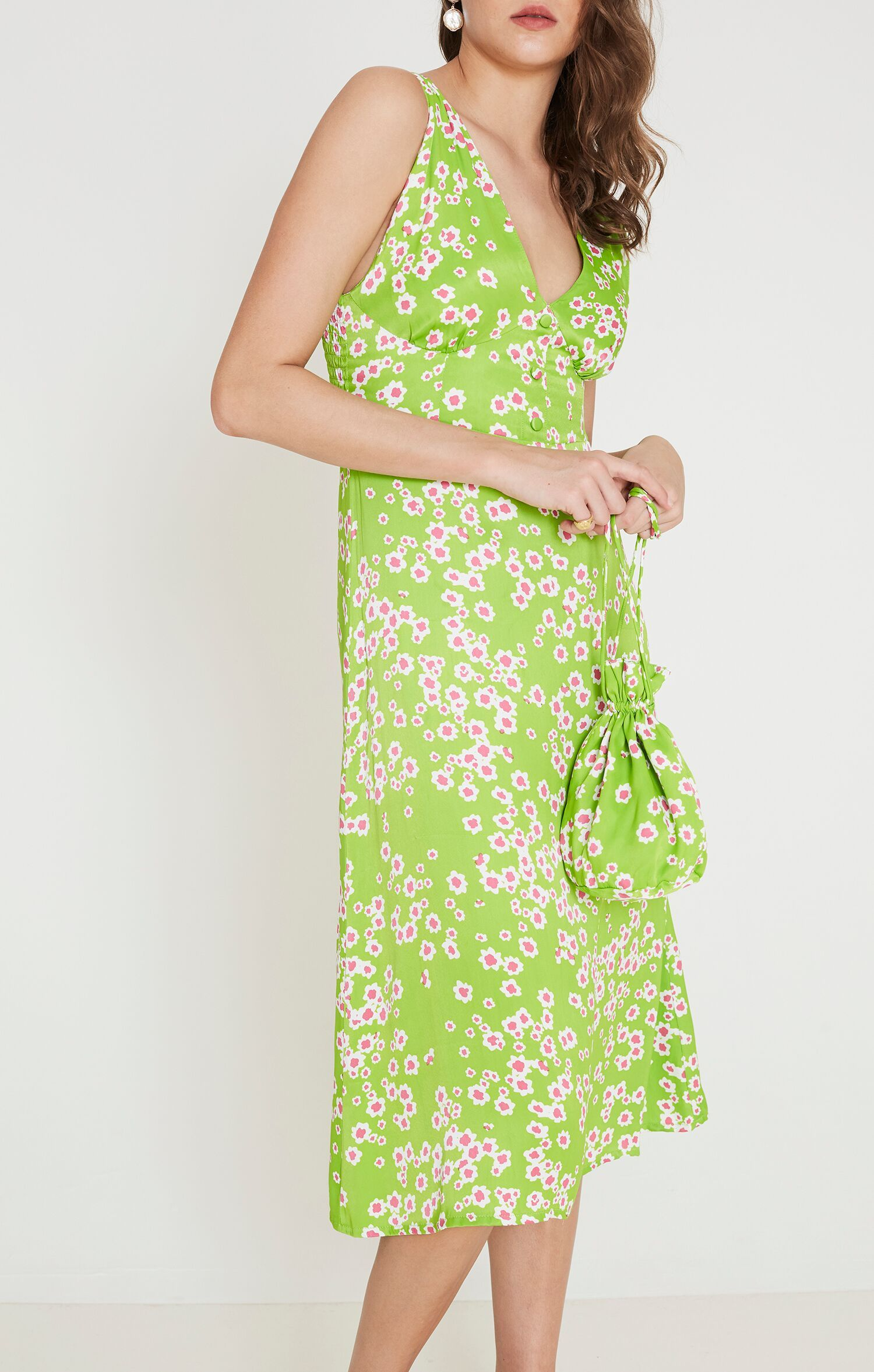 Load image into Gallery viewer, Faithfull The Brand Emili Sun Dress in Le Bon Floral Print Apple Green | Midi Dresses