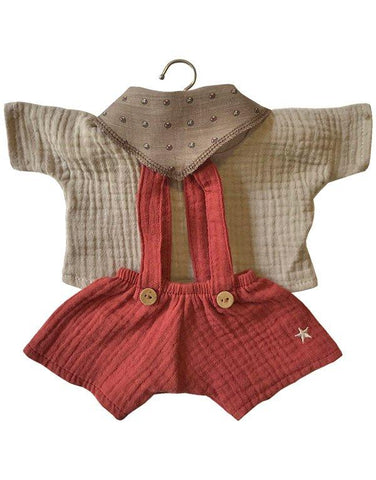 MiniKane Little Hans Brick & Beige Set with Fancy Scarf