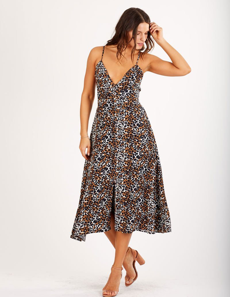 Estella Maxi Dress Leopard Womens Cleobella