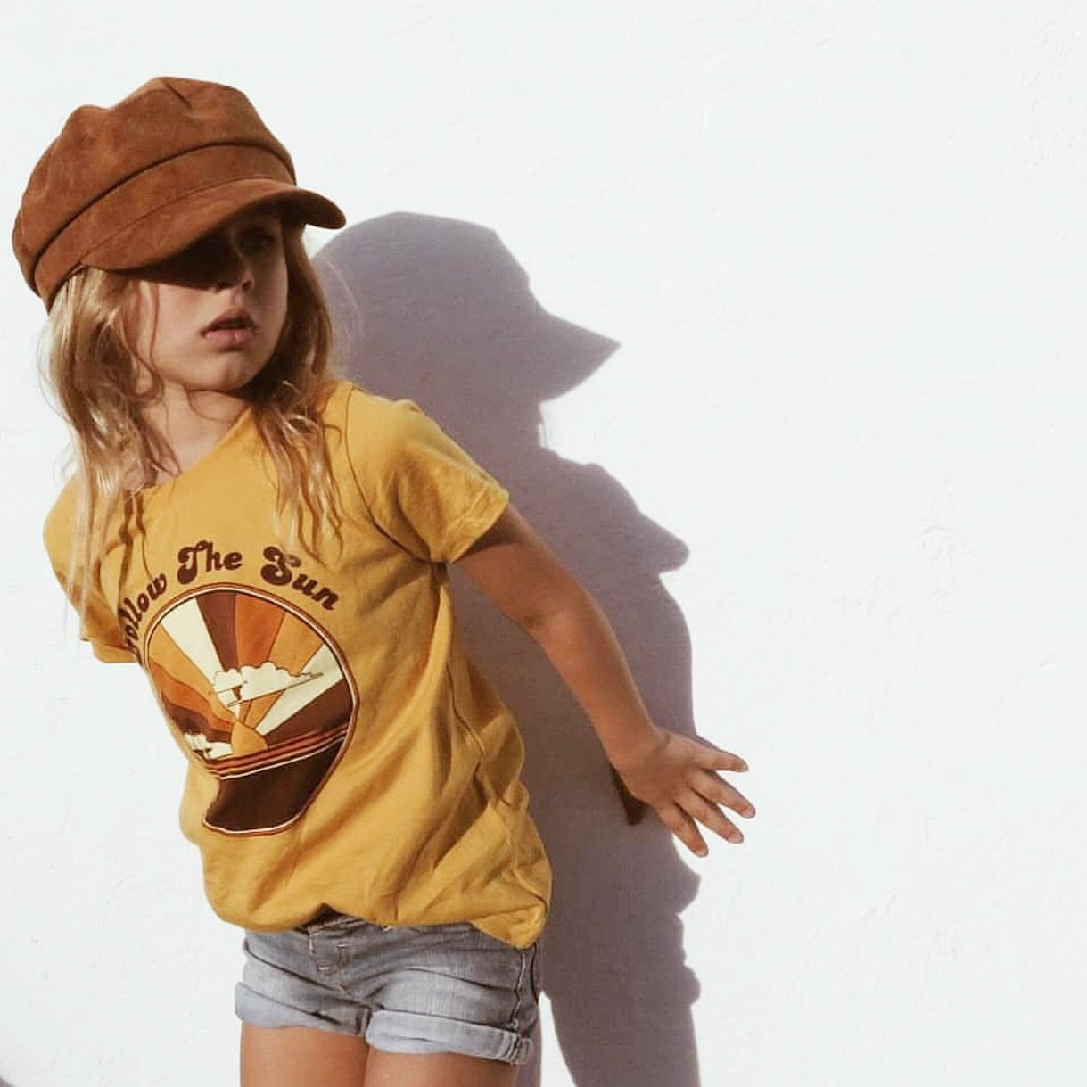 Follow The Sun Tee in Mustard by Suede Daze