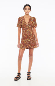 Ilia Mini Dress in Nicasia Floral Print Chocolate by Faithfull The Brand