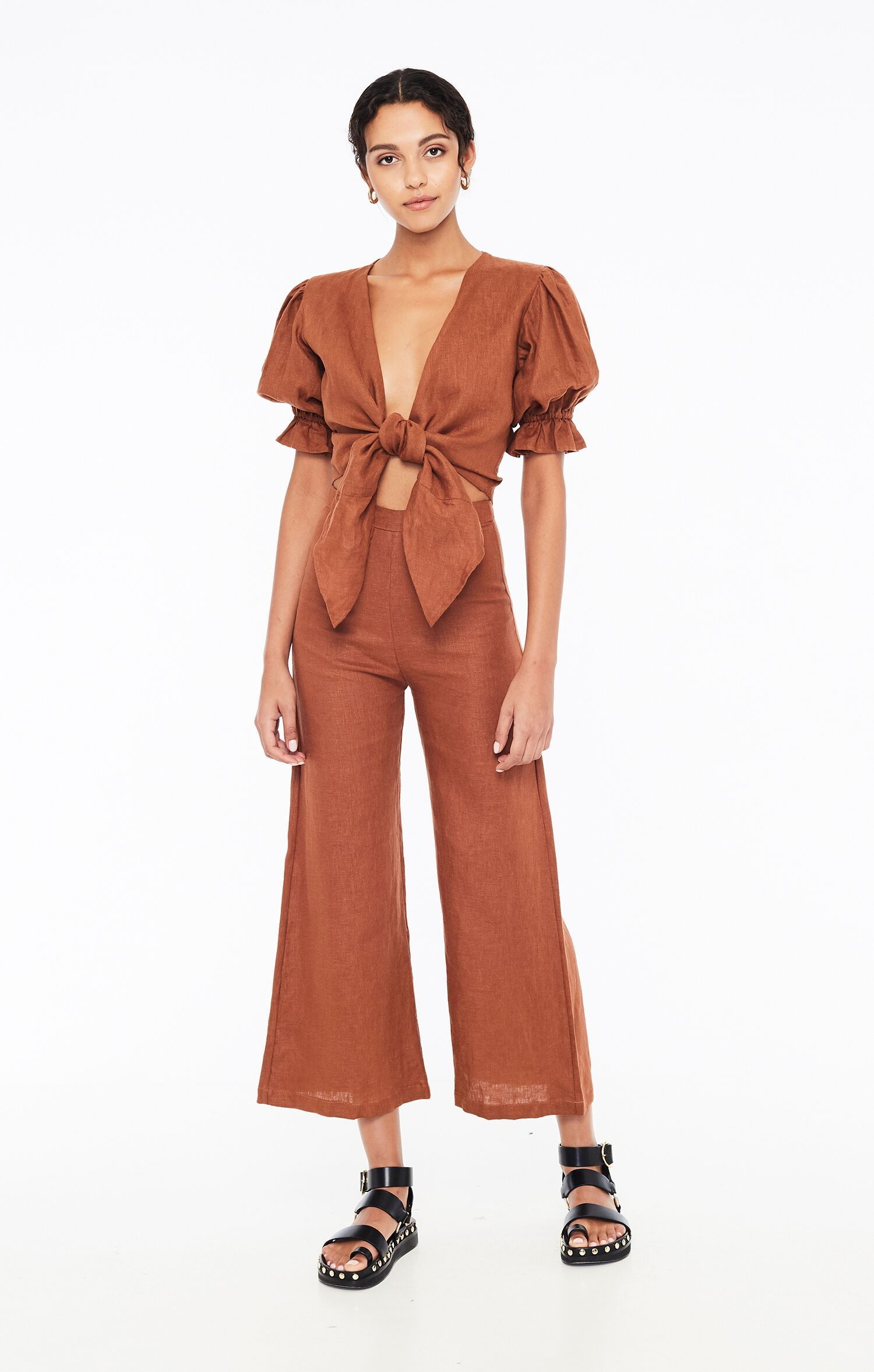 Load image into Gallery viewer, Scelsi Pant in Plain Chestnut by Faithfull The Brand | Bottoms for Women