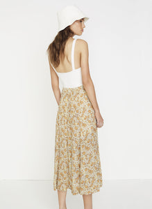 Faithfull The Brand Zoella Floral Print Peach Le Jean Skirt High Waist Mid Length