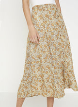 Load image into Gallery viewer, Faithfull The Brand Zoella Floral Print Peach Le Jean Skirt High Waist Mid Length