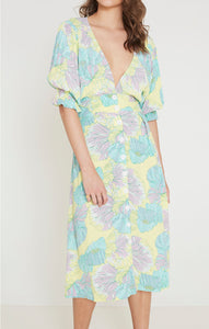 Faithfull the Brand Rafa Midi Dress Lera Floral Print Pastel Dresses