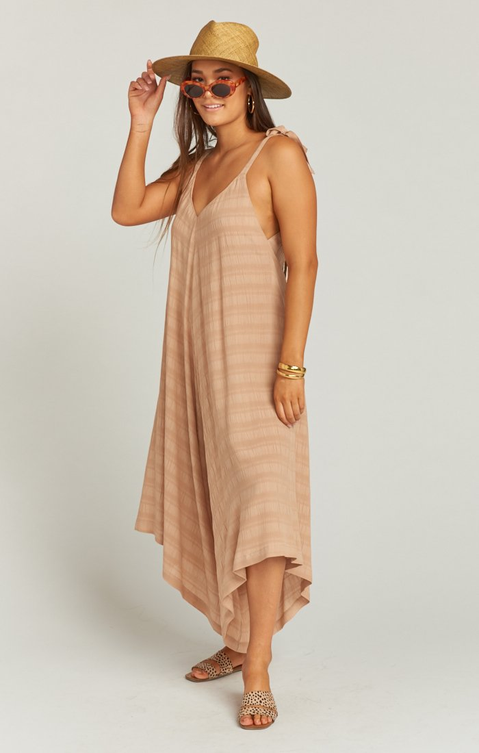 Faithy Faith Jumpsuit in Tan Ripple Gauze by Show Me Your Mumu | Bohemian Mama