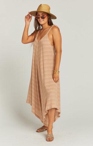 Faithy Faith Jumpsuit - Tan Ripple Gauze