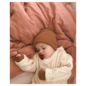 Fini Beanie & Fingerless Glove Set - Terracotta