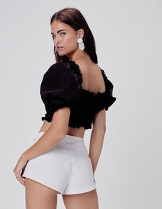 Sage Lace Up Crop Top in Black | Women's Puff Sleeves Tops