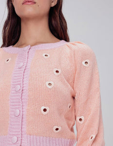 For Love & Lemons Lovejoy Cropped Cardigan in Peach | Women's Sweaters & Knits