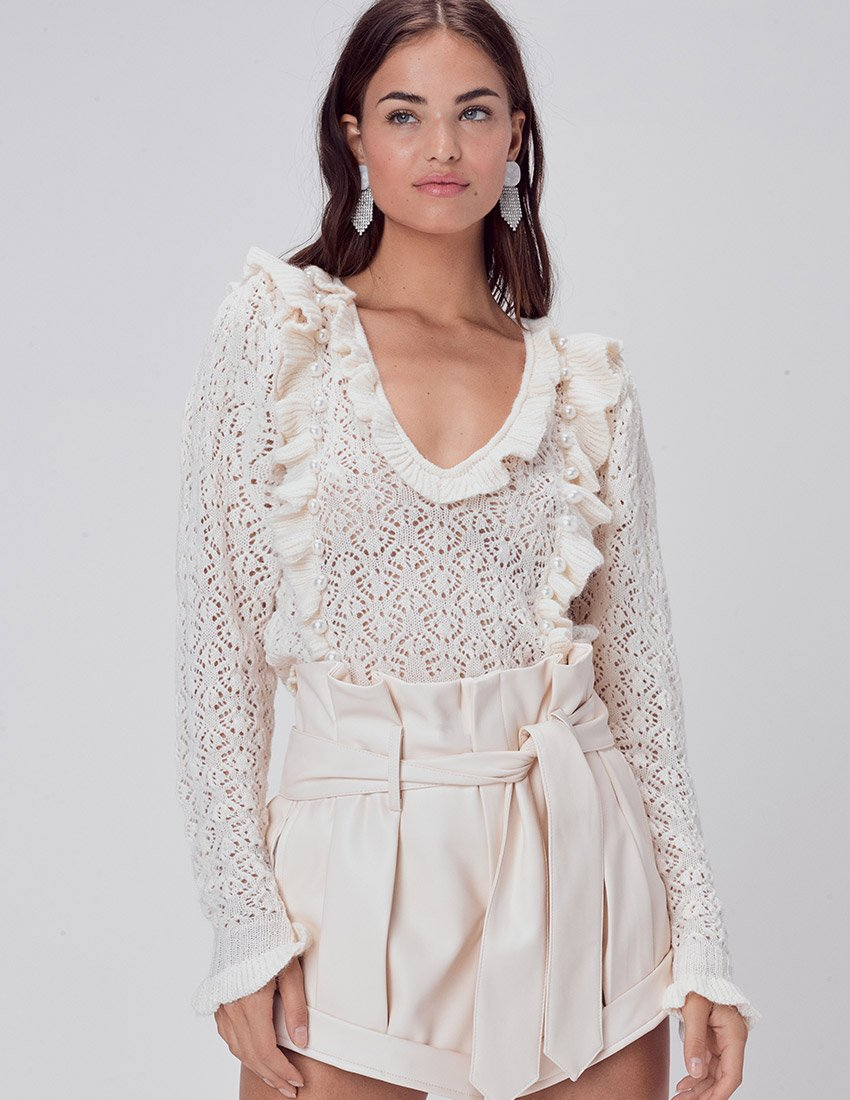 For Love & Lemons Pearl V Neck Sweater in Ivory | Women's Cardigans with Pearls