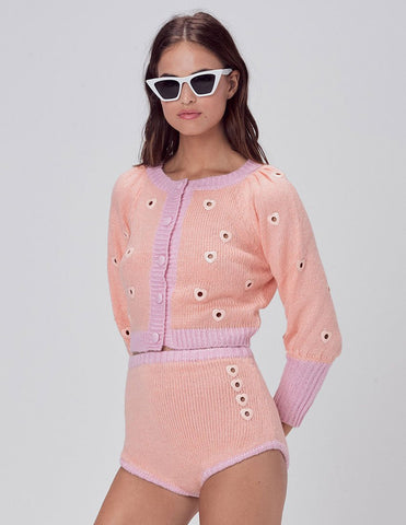 For Love & Lemons Lovejoy Cropped Cardigan in Peach | Women's Eyelet Cropped Cardigan