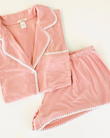 Frida Whip Stitch Short PJ Set - Rose Tan/Ivory