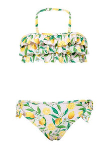 Lemon Ruffle Bandeau Bikini by Snapper Rock