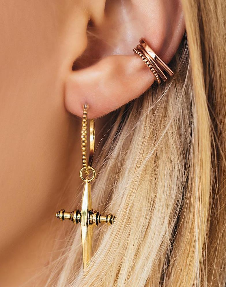 Load image into Gallery viewer, Cross Hoops Earrings Gold