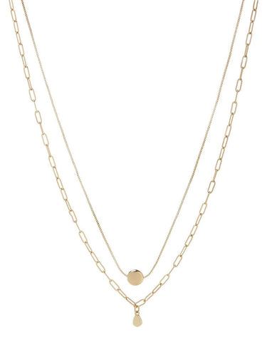 Golden Nugget Double Charm Necklace - Gold