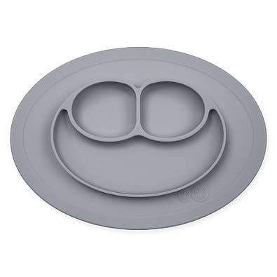 Mini Mat Suction Toddler Plate - Gray