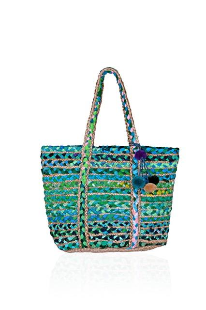 Load image into Gallery viewer, Green Lake Chindi and Jute Bag by America & Beyond | Bohemian mama