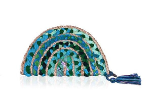 Green Lake Chindi and Jute Half Moon Clutch by America & Beyond