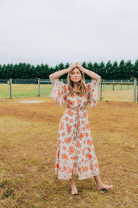 Gypsy Love Gown in Red Dahlia Ivory by Bohemian Mama The Label