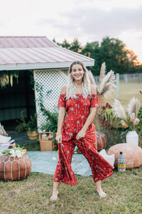 Gypsy Love Roper Romper in Royal Palm Marooned by Bohemian Mama The Label | Womens