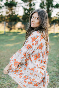 Gypsy Love Short Kimono in Red Dahlia Ivory by Bohemian Mama The Label