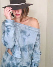Load image into Gallery viewer, Cropped Off-Shoulder Sweatshirt - Ocean Mist | Bohemian Mama The Label - Women's Clothing