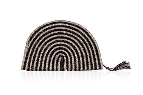Black Stripe Half Moon Clutch