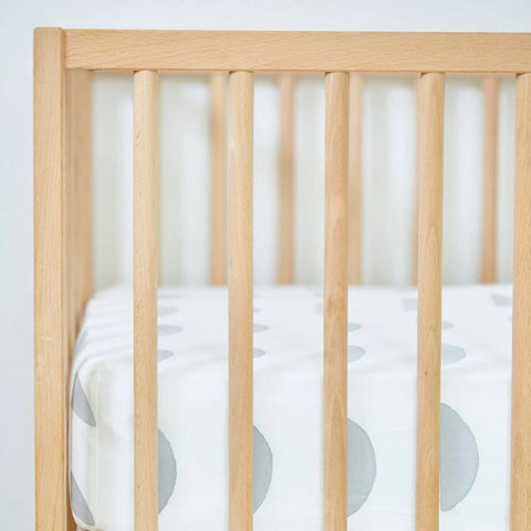 Grey Half Moon Organic Cotton Crib Sheet