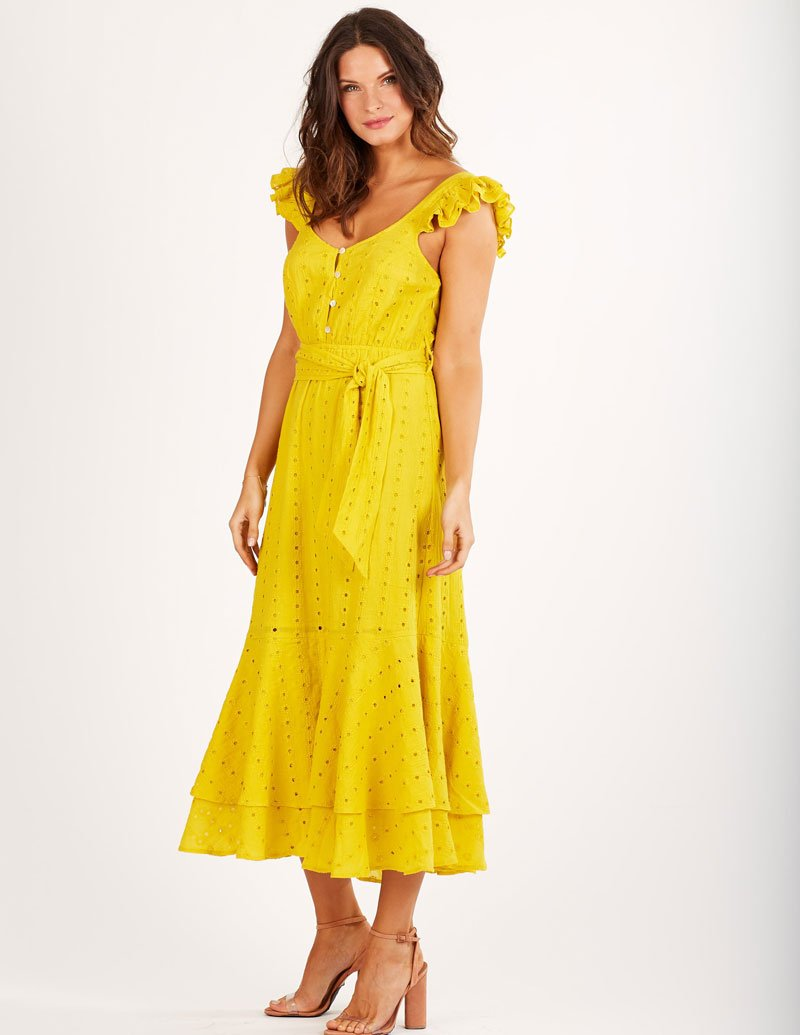 Load image into Gallery viewer, Harlow Ankle Dress Lemon Cleobella