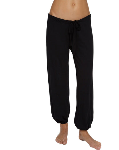 Heather Cotton Blend Cropped Pant - Black