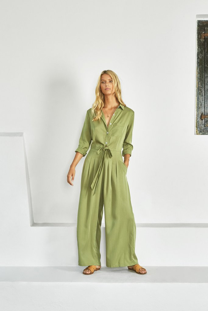 70s Clothes | Hippie Clothes & Outfits Heleen Jumpsuit - Fern $138.60 AT vintagedancer.com