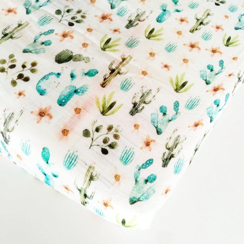 Muslin crib sheet - Cactus by Loulou Lollipop