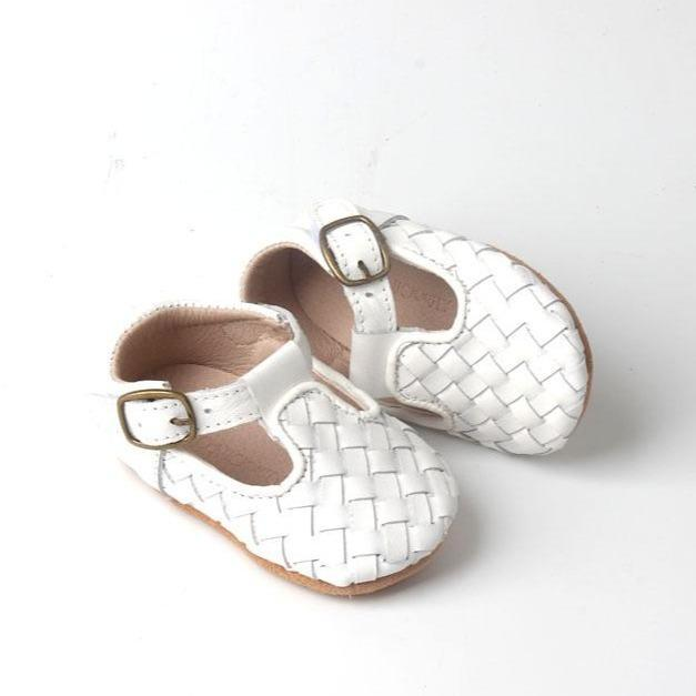 Leather Woven T-Bar | Color 'Cotton White' | Soft Sole - Consciously Baby Shoes | Baby & Toddler Shoes