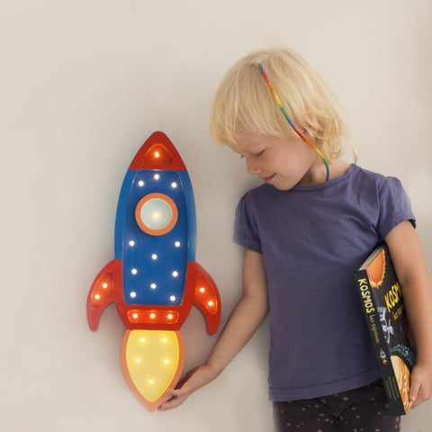 Little Lights Rocket Ship Lamp - Navy/Red