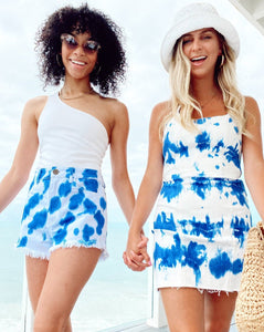 Houston High Waisted Shorts Indigo Tie Dye