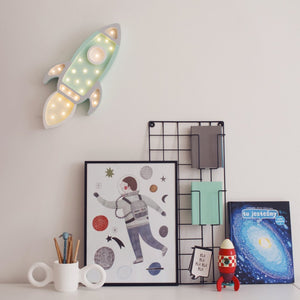 Little Lights Rocket Ship Lamp - Mint/Grey | Kids Wooden Toys & Nursery Decor